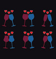 set of wine glasses and heart icons vector image vector image