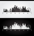 shanghai skyline and landmarks silhouette vector image vector image