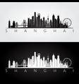 shanghai skyline and landmarks silhouette vector image