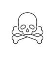 skull and crossed bones line icon vector image