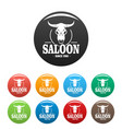 skull saloon icons set color vector image