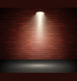 stage illuminated spotlight against brick wall vector image vector image