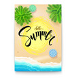 summer beach seashore summer poster with vector image vector image