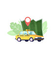 taxi car map and navigation pin yellow taxicab vector image
