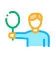 tennis player man icon outline vector image vector image