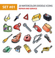 watercolor icons set - repair and service vector image