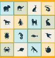 zoo icons set with rabbit capybara whale and vector image
