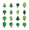 set forest trees evergreens coniferous trees and vector image