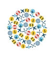 airplane icons in circle vector image vector image
