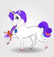 beautiful cartoon walking unicorn with purple vector image