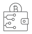 bitcoin wallet thin line icon money and finance vector image