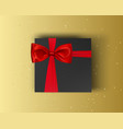 blank black gift box with red ribbon and red bow vector image vector image