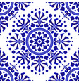 blue and white decorative flower pattern vector image vector image