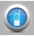 blue metal button - glass with drink and straw vector image vector image
