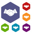 business handshake icons set hexagon vector image vector image