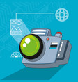 camera photographic with set icons vector image
