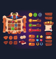cartoon game ui wooden buttons sliders and icons vector image