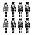 Christmas nutcracker - soldier figurine black icon vector image vector image