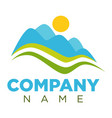 company logotype with minimalistic landscape vector image vector image