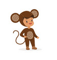 cute happy boy dressed as a monkey kids carnival vector image vector image