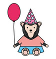 cute monkey with balloon helium in birthday party vector image