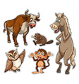 Different types of wild animals vector image vector image