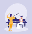 elegant couple playing piano avatar character vector image vector image