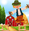 Farm scene with barn and scarecrow vector image vector image