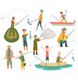 fisherman flat icons fishing people with fish vector image vector image
