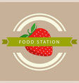 food station ribbon strawberry circle frame backgr vector image vector image