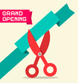 Grand Opening Retro Flat Design with Scissor vector image vector image