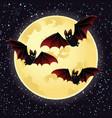 halloween night with bats flying over moon vector image