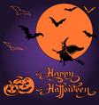 halloween pumpkins and bats on full moon vector image