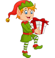 Happy green elf boy holding gifts vector image
