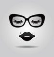 hipster lady lips and sunglasses with closed eyes vector image vector image