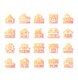house simple color line icons exterior set vector image vector image
