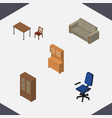 isometric design set of office couch chair and vector image vector image