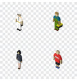 isometric people set of seaman plumber girl and vector image vector image