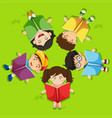 kids reading book on green grass vector image vector image