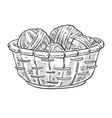 knitting items woolen thread balls in basket vector image vector image