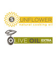 olive and sunflower oil product label vector image vector image