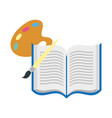 open book with brush isolated icon vector image