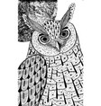 owl and the moon ink drawing for coloring page vector image vector image