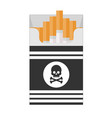 pack of cigarettes with black skull vector image vector image
