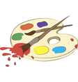 palette with paints and brushes vector image vector image