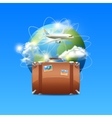 Plane With Globe And Suitcase vector image vector image