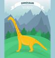 poster with flat cartoon dinosaur vector image