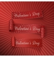 Realistic Valentines Day curved red Ribbons Set vector image vector image