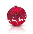 red christmas ball with deer isolated on white vector image vector image