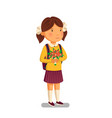 schoolgirl happy schoolgirl with backpack vector image vector image